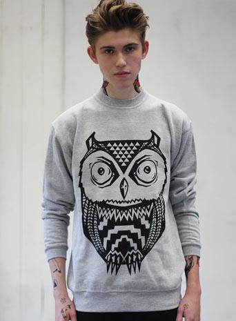 Art disco 'aztec owl' sweatshirt*
