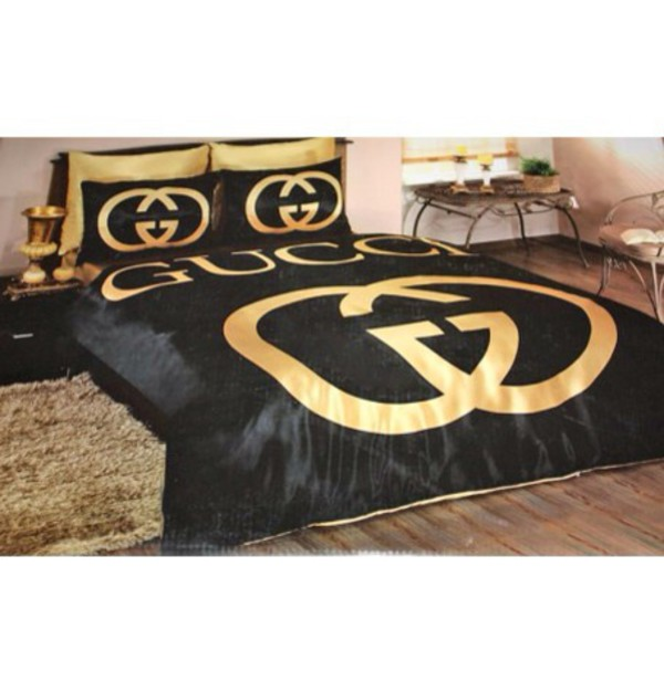 Home Accessory Bedding Bedding Black Gucci Gold