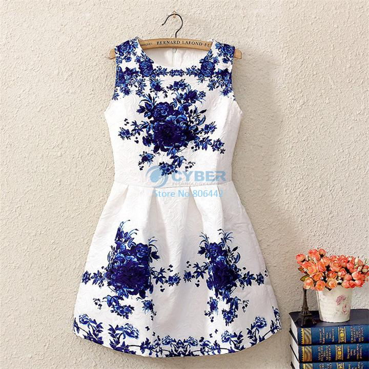 2014 spring/summer new vintage style elegant brand women's fashion white sleeveless porcelain print flare floral party dress