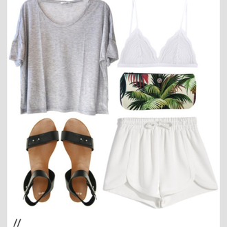 shorts t-shirt grey t-shirt tropical palm tree print sandals summer outfits shoes
