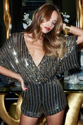 romper parker kimora sparkle glamour chic metallic gold gold sequins black black sequins v neck plunge v neck deep v short sleeve romper shorts holiday season holiday outfit revolve clothing revolve revolveme