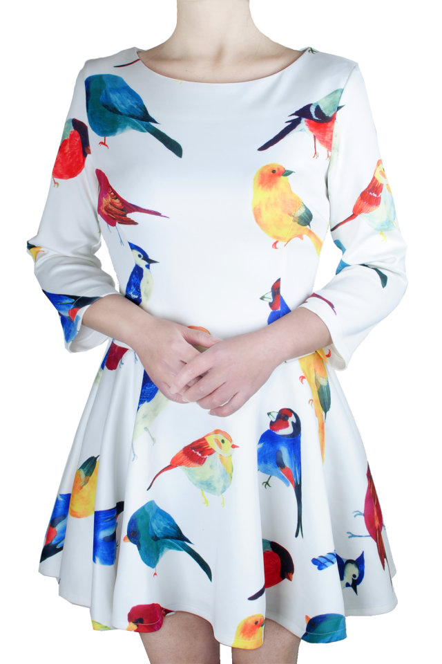 Multi-color Birds Print Slim Dress [SHWM00130] - PersunMall.com