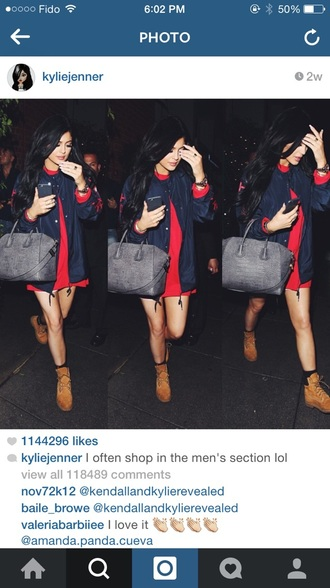 shirt shoes kylie jenner timberland jacket sweater blue instagram navy red dress coat blouse tomboy outfit bag
