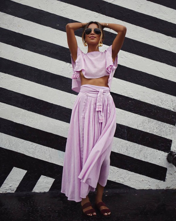Skirt: sunglasses, tumblr, maxi skirt, matching set, lilac, long ... | title | sundown set