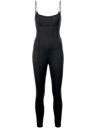 jumpsuit women spandex black wool