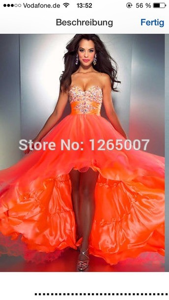 Aliexpress.com : Buy Sexy Fashion Sweetheart Rhinestone Crystal Beaded Shiny Front Short Long Back Orange Prom Dress Fashion Long Gowns from Reliable gowns with long sleeves suppliers on SFBridal
