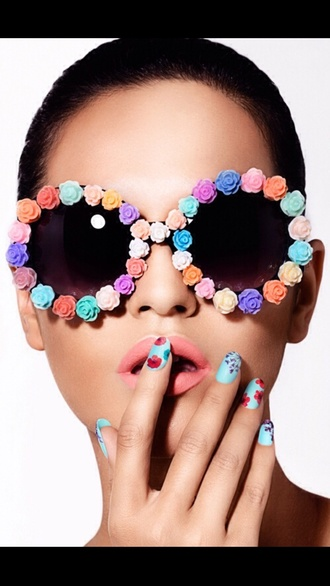 floral floral sunglasses sunglasses boho hipster pale roses round big eye