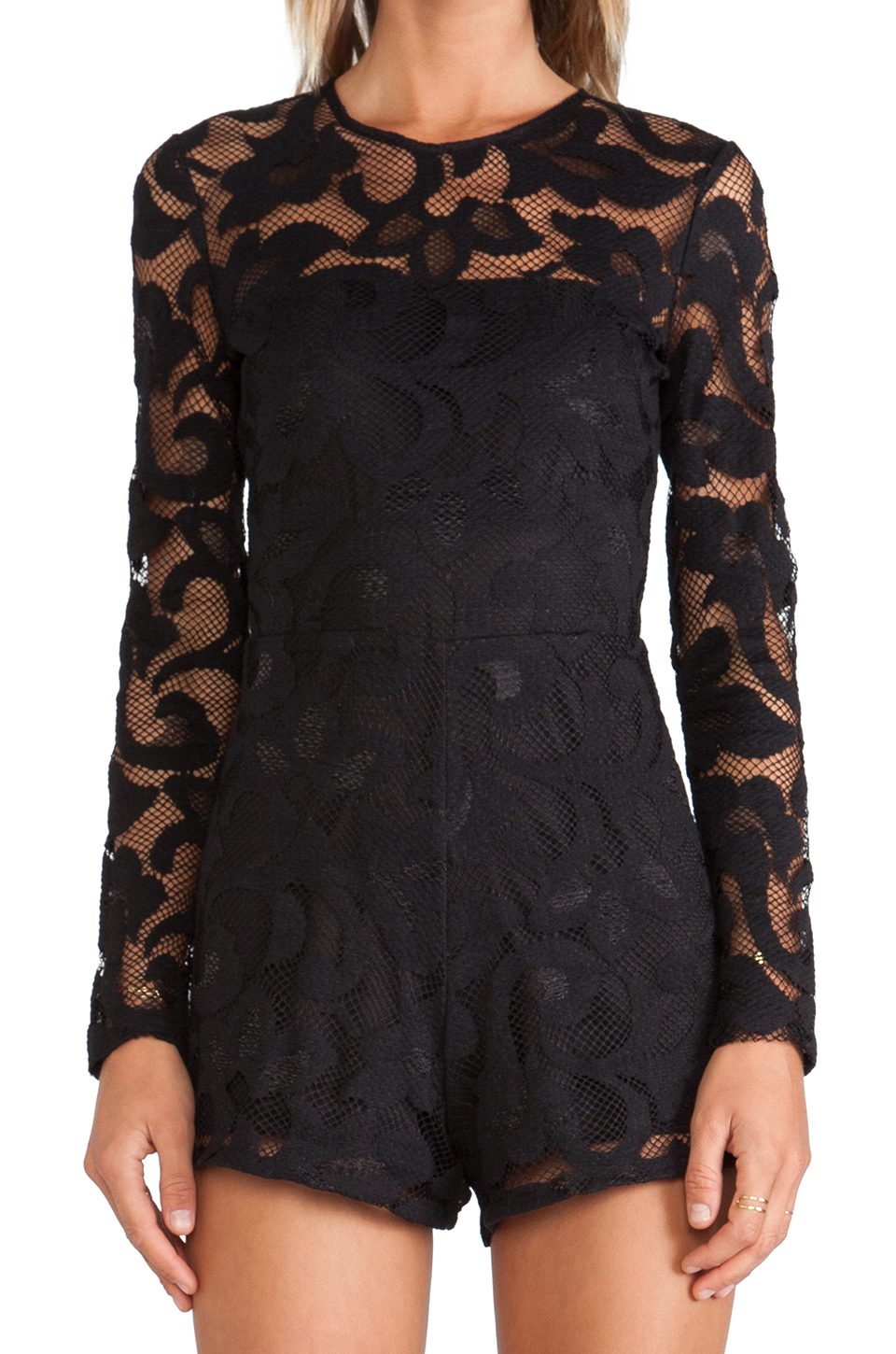 Alexis montreuil lace romper in black from revolveclothing.com