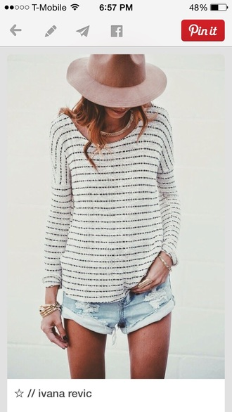 blouse shirt wholeoutfit hat short shorts top waffle knit stripes white top black top striped shirt style