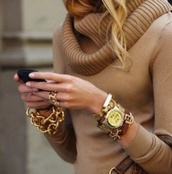 shirt,warm,beige,nice,chique,jewels,sweater,nude,nude sweater,brown,brown sweater,fall outfits,gold,beautiful,beautiful sweater,beautiful brown sweater,fashion,beautiful fashion,fall sweater,fall trend,fall outwear,gold jewelry,blue,gold bracelet,watch,skull,jewelry,bracelets,tan,classy,turtleneck,elegant,sweater weather,leather bracelet,stacked bracelets,gold watch,camel sweater