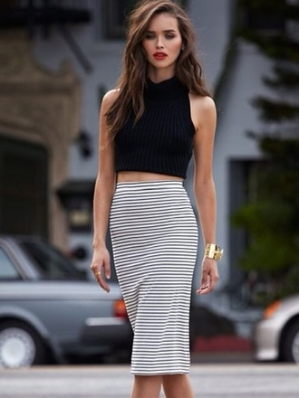 skirt outfit black and white high skirt mariniere tank top fashion inspo beautiful grunge style crop tops luxury stripes top