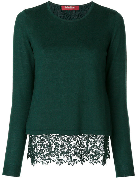 jumper women lace wool green sweater