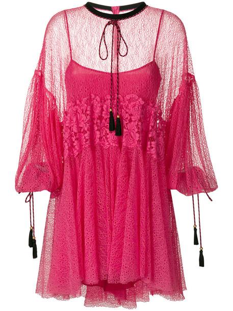 dress lace dress women fit lace purple pink
