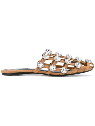 metal women embellished sandals leather brown shoes