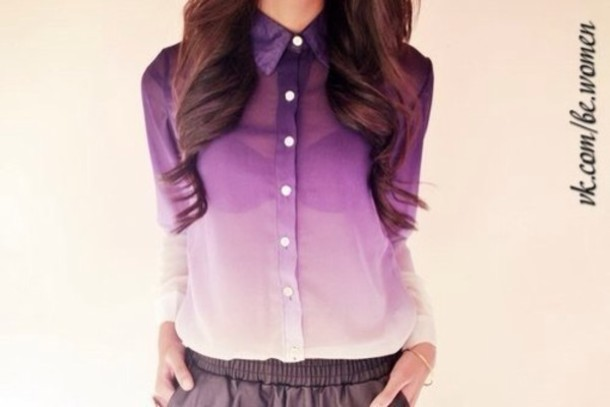 Shirt: t-shirt, blouse, violet, purple