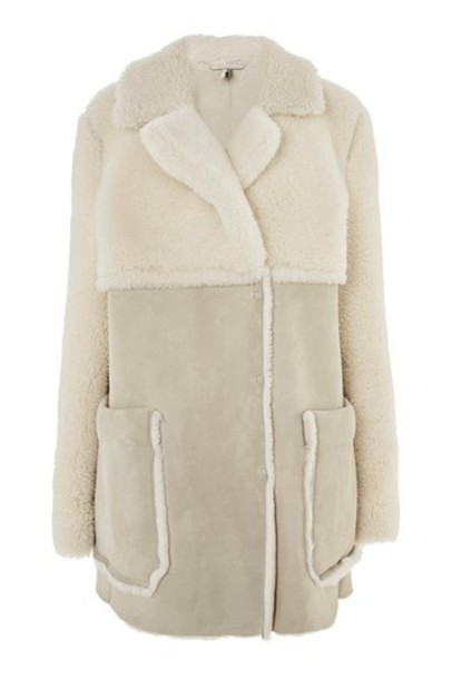 Topshop jacket shearling jacket cream