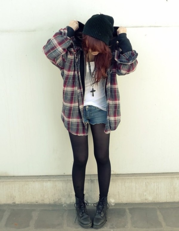 jacket grunge clothes hoodie checkered oversized