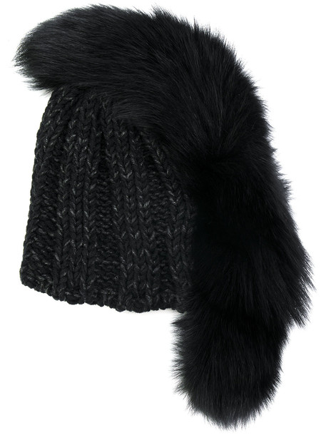 fur beanie black hat