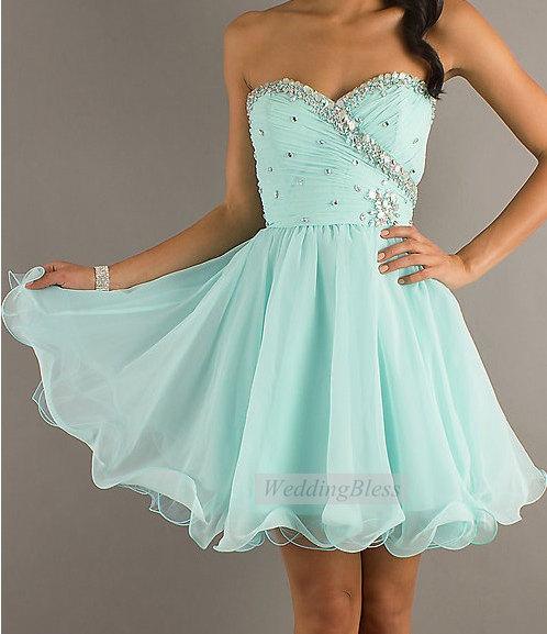 Blue Prom Dress Sequin Cocktail Dress door WeddingBless