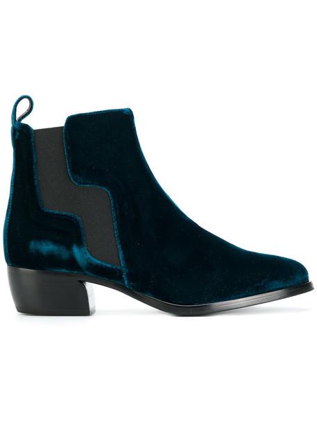 Pierre Hardy women leather blue velvet shoes
