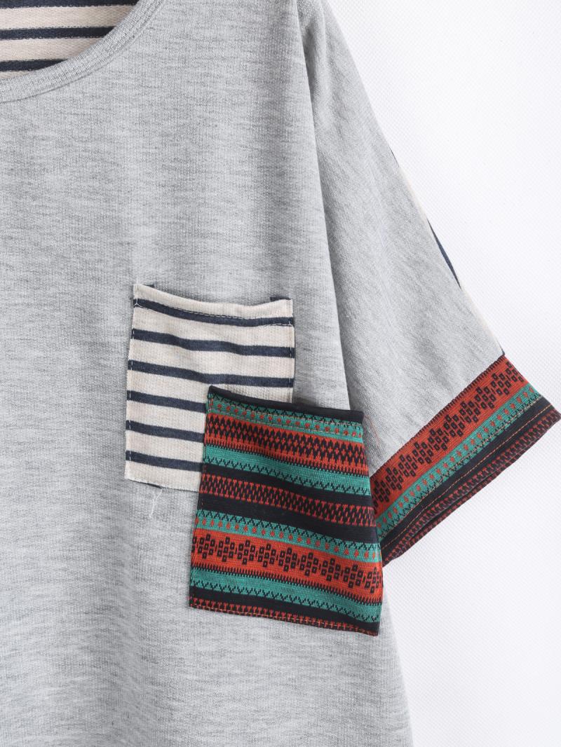 Camiseta rayas bolsillo manga corta-gris