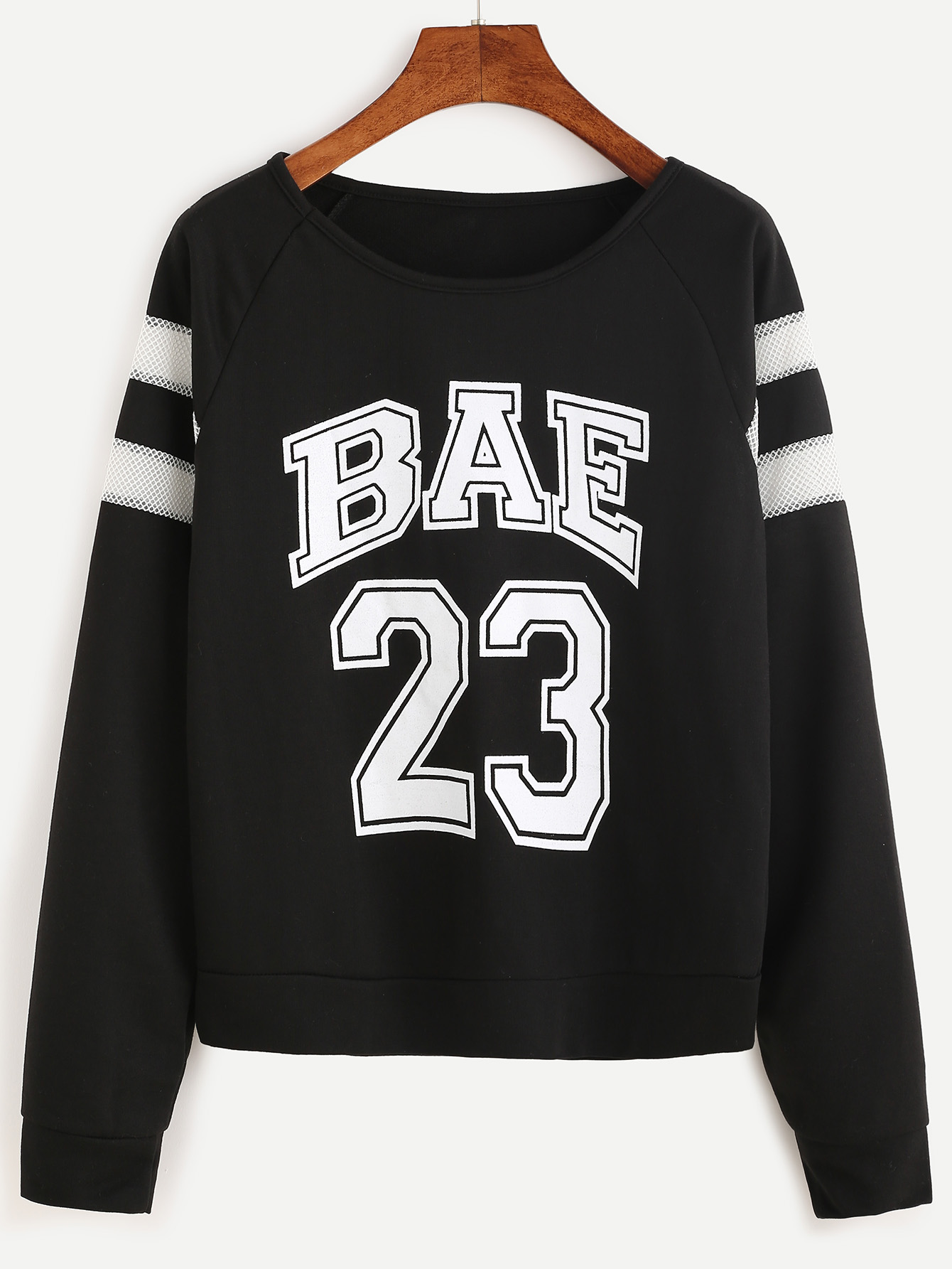 e21e88efb2 Black Varsity Print Raglan Sleeve Sweatshirt -SheIn(Sheinside)
