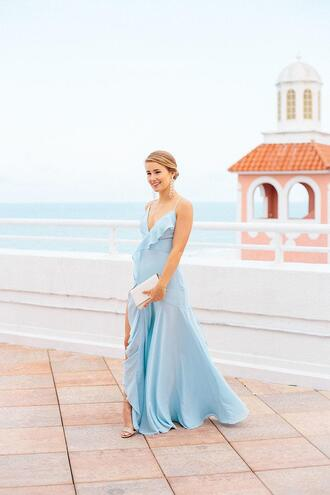 a lonestar state of southern blogger dress jewels shoes bag blue dress gown sandals clutch spring outfits