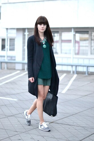 shoes green top grey cardigan statement necklace green skirt blogger new balance sneakers