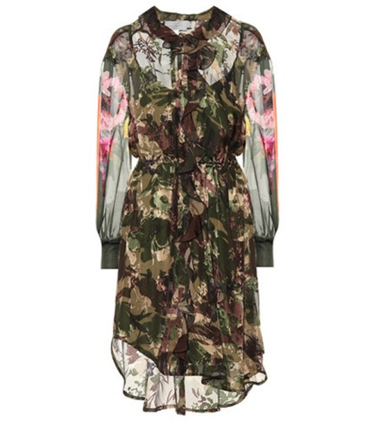 Preen by Thornton Bregazzi Octavia silk-blend camouflage dress in green