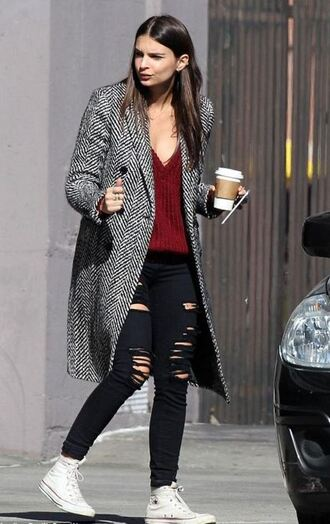 top jeans ripped jeans sneakers emily ratajkowski coat sweater knitted sweater