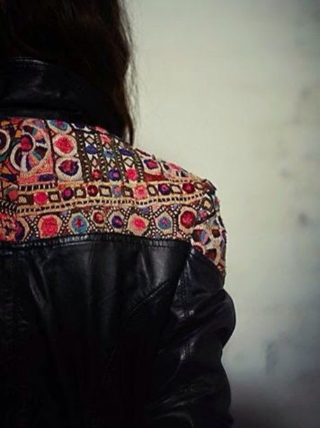 jacket leather jacket boho chic