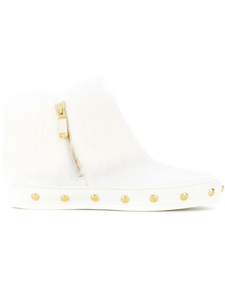 Baldinini studded fur women ankle boots leather white shoes