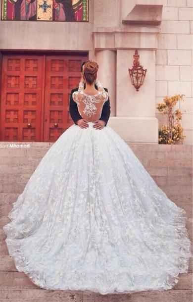 Aliexpress.com : buy vestido de noiva new princess ball gown wedding dresses scoop neckline sheer lace long sleeve court train bridal dress 2015 from reliable dress event suppliers on suzhou babyonline dress store