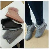shoes,fur,boots,adidas,winter outfits,suede,brown,sneakers,adidas shoes,fuzzy shoes,adidas furry booties,adidas boots with fur,high top,grey,black,booties,fluffy,pink,adidas fur hightops wimter collection,any