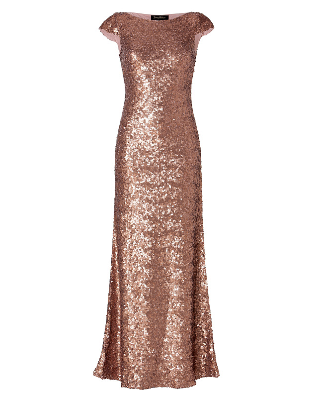 Sequined gown in seville rose