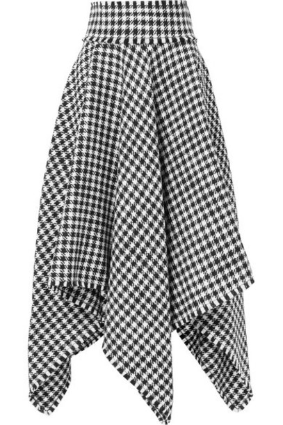 Dolce & Gabbana - Asymmetric Houndstooth Wool-blend Midi Skirt - Black
