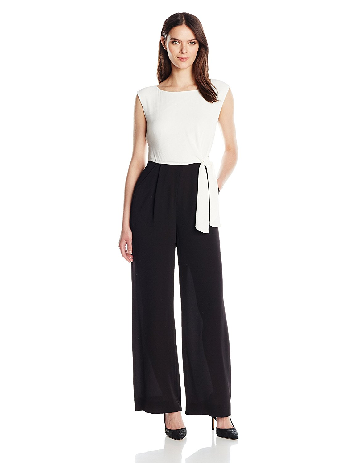 Amazon.com: Tahari by Arthur S. Levine Women's Twotone Side Tie Jumpsuit: Clothing