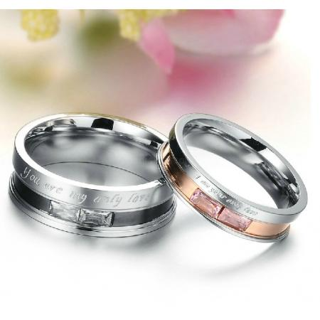 "316L Stainless Steel ""You Are My Only Love""Couple Rings Mens Ladies Wedding Band 