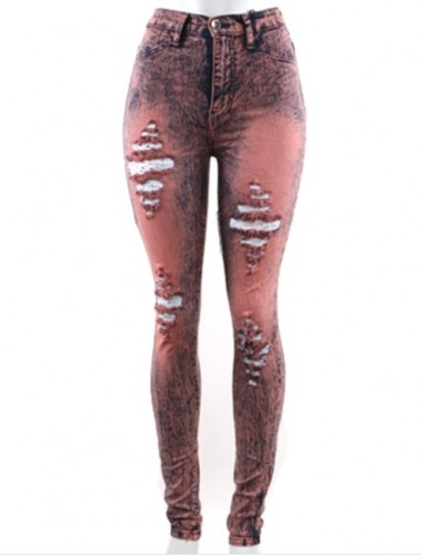 Pink Destroyed Skinny Jeans | Clothing | Womens Clothing, Shoes, Jewelry & Plus Sizes | B. De'Lish