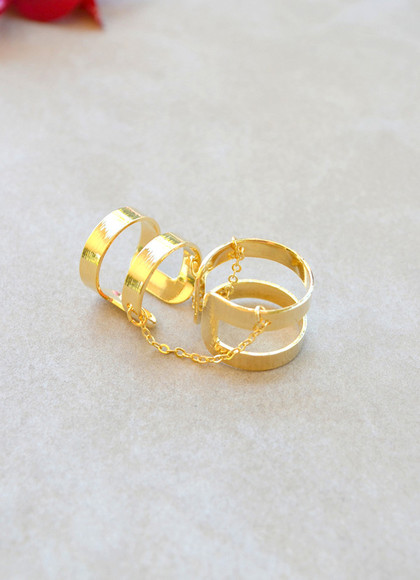jewels ring gold ring gold gold rings double ring band ring gold chain chain ring chain