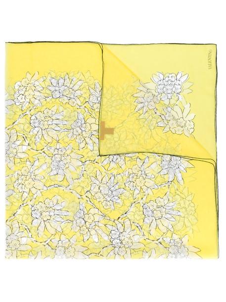 Valentino women scarf floral print silk yellow orange