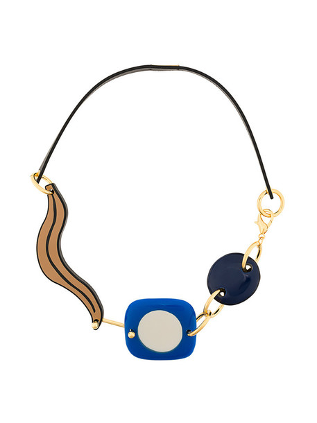 MARNI metal women necklace leather blue jewels