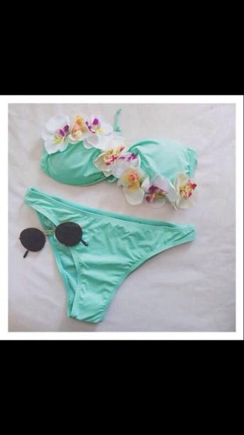 swimwear blue bikini flowers summer sun bikini like