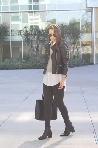 cost with me blogger jacket sweater leggings shoes bag black leather jacket winter outfits tote bag ankle boots