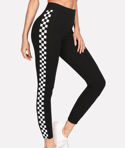 leggings girly black white checkered