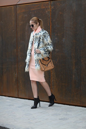 from brussels with love,blogger,jacket,sweater,dress,shoes,bag,faux fur jacket,shoulder bag,ankle boots,peach dress,winter date night outfit,printed fur jacket