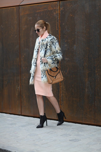 from brussels with love blogger jacket sweater dress shoes bag faux fur jacket shoulder bag ankle boots peach dress winter date night outfit printed fur jacket