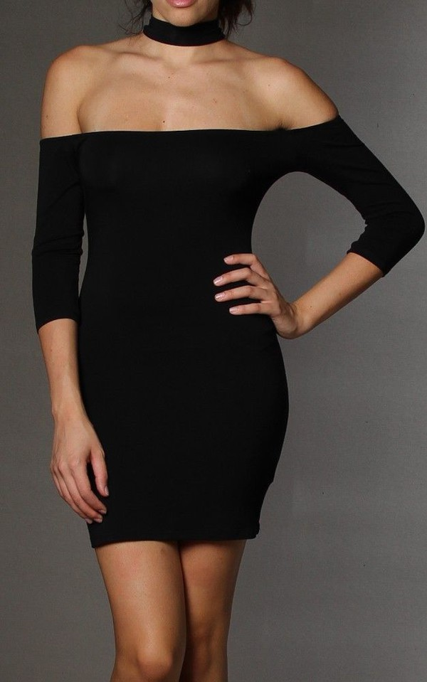 long sleeve dress chocker dress choker necklace black dress little black dress mini dress clubwear party bodycon dress