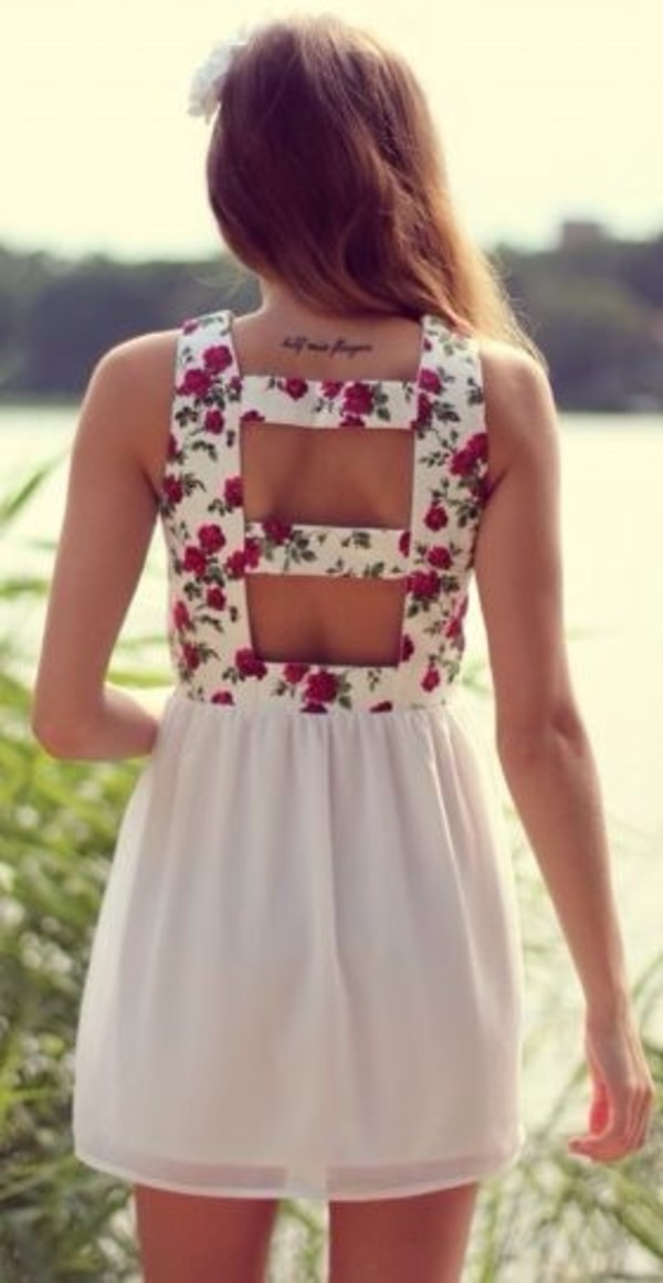 dress floral floral top cut-out white dress open back floral dress tank top skirt floral dress pink dress style flowers backless dress white hair accessory