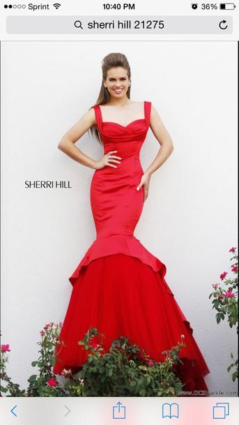 dress sherri hill prom dress mermaid prom dress red dress gown
